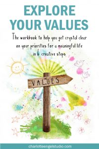 EXPLORE YOUR VALUES is a pdf workbook that will guide you through the process of identifying, researching and analyzing your core values in 6 creative steps. The steps will help you to not only identify your values but also make you think, write and create about what each value means to you and you your life.